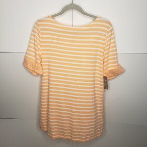 White Stag Orange and White Striped Top Large